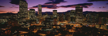 city of denver: Denver, Colorado skyline at dusk