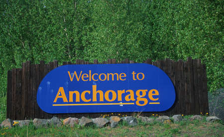 Welcome to Alaska Sign Stock Photo - 20486785