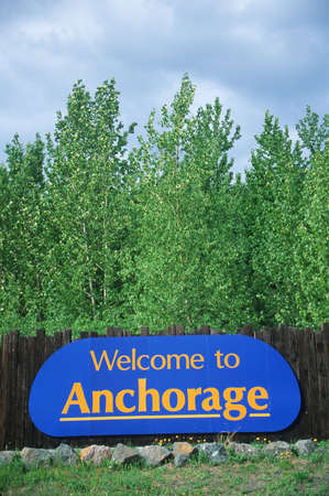 Welcome to Alaska Sign Stock Photo - 20486571