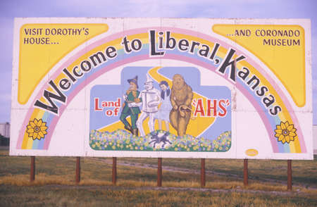 A sign for Liberal, Kansas
