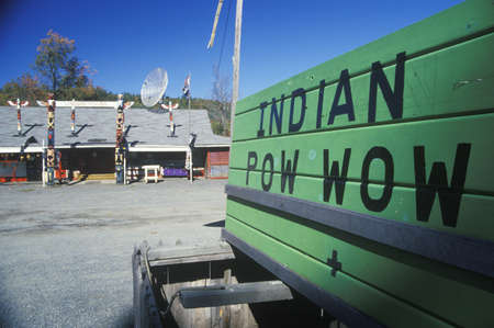 pow: A sign that reads �Indian Pow Wow� Editorial