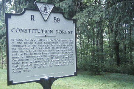 A sign that reads �Constitution Forest�