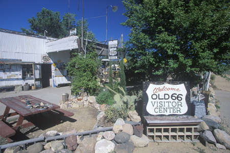 A sign that reads �Welcome Old 66 Visitor Center�