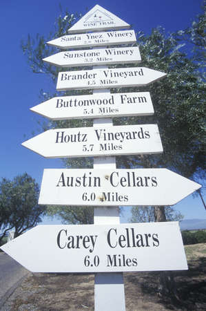 wine country: Miscellaneous distance signs in the wine country, California