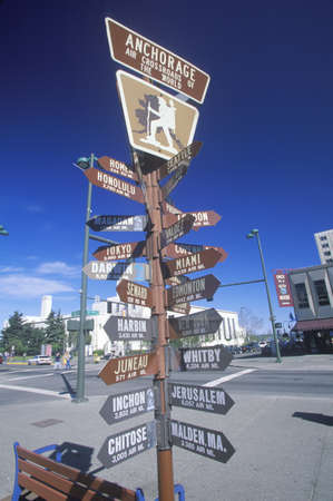 distance: Miscellaneous distance signs in Anchorage, Alaska