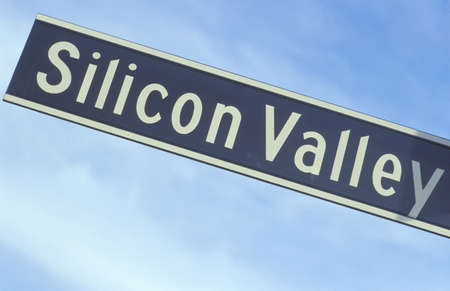 silicon: Un cartel que dice Silicon Valley Editorial