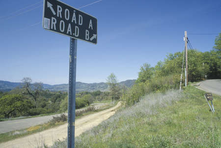 which way: A sign that reads �Road ARoad B� Editorial