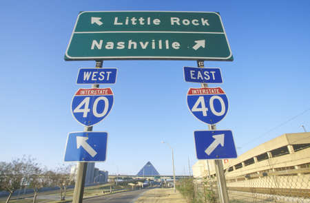 Interstate Highway 75 North and South Freeway signs to Nashville or Little Rock Editorial