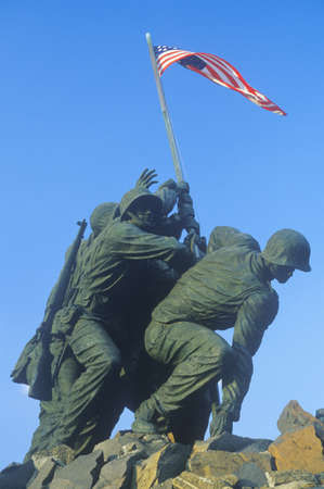 Side view of Iwo Jima United States Marine Corps memorial statue in Arlington, Virginia