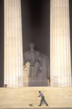 abe: Lincoln Memorial with African-American Janitor Cleaning Steps
