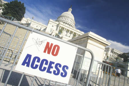 No Access Sign at the United States Capitol Building, Washington, D.C.