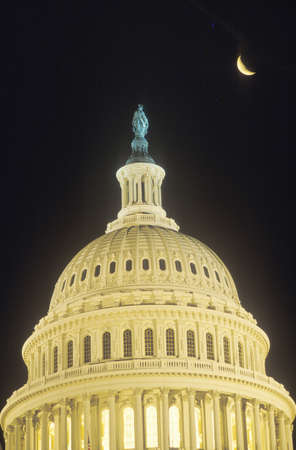 crescent: United States Capitol Building Dome with Crescent Moon, Washington, D.C.