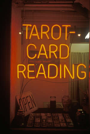 advertise with us: Neon  Tarot Card Reading sign in Los Angeles, CA Editorial
