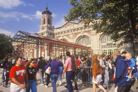 Tourists visiting Ellis Island National Park, New York City, New York