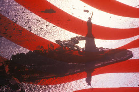 Statue of Liberty Seen Through An American Flag, New York City, New York