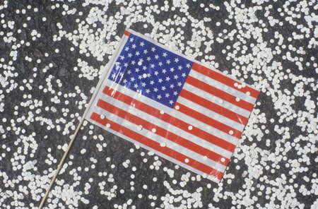 ticker: American Flag and Confetti, Ticker Tape Parade, New York City, New York Editorial