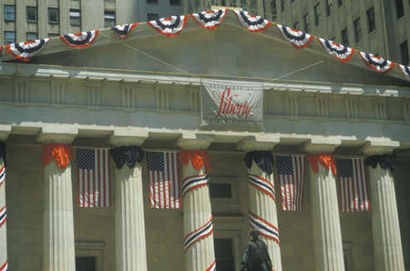 U.S. Federal Hall decorated for Liberty Weekend, Wall Street, New York City, New York