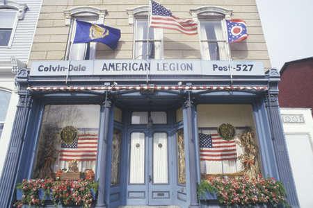 seneca: American Legion Post 527 Building with Flags, Seneca Falls, New York