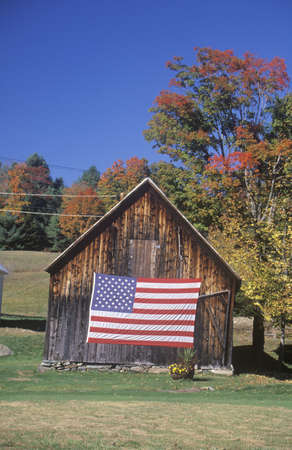 American Flag Hung on Old Barn, Vermont