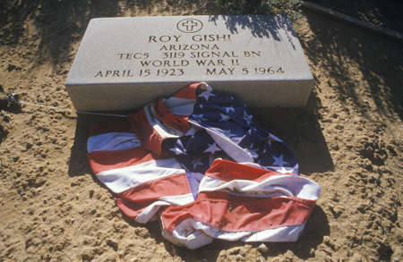 defiance: Tombstone and American Flag at the Cemetery, Fort Defiance, Arizona