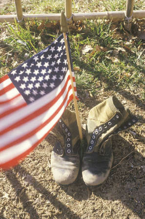 army boots: American Flag Between Two Army Boots, Washington, D.C. Editorial