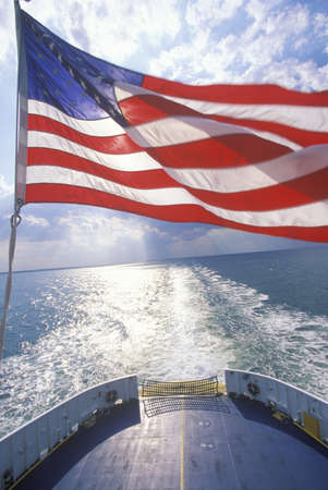 American Flag Flying From Cape May Ferry, New Jersey