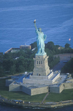 Aerial view of the Statue of Liberty , New York City, New York