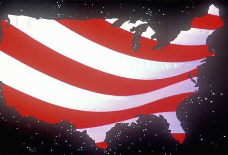 efectos especiales: Efectos especiales: Esquema de la parte continental de Estados Unidos como una bandera de Estados Unidos Editorial
