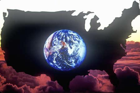 efectos especiales: Efectos especiales: Esquema de la parte continental de Estados Unidos con la vista de la tierra desde el espacio exterior