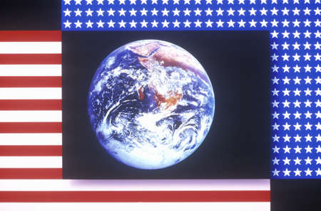 special effects: Special effects: American flag and the planet Earth