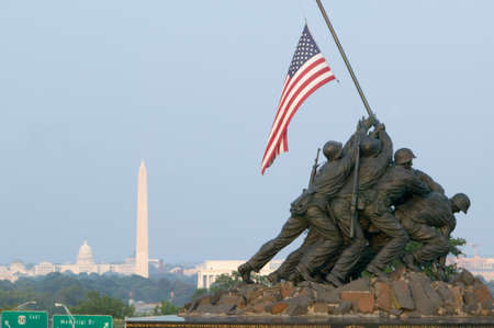 National Iwo Jima War Memorial Monument in Rosslyn, Virginia overlooking Potomac and Washington D.C. Redakční