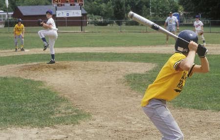 Little League player up at bat, Little League game, Hebron, CT