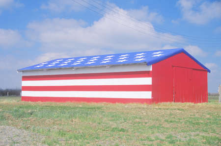 Barn Painted Like American Flag, Central California