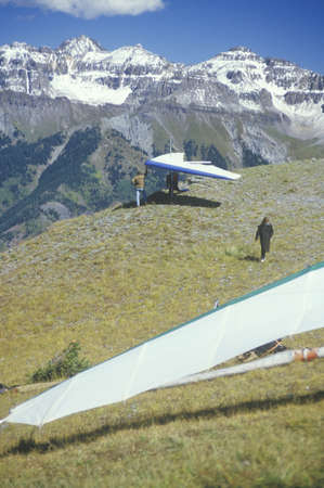 Hang gliders at edge of cliff during Hang Gliding Festival, Telluride, Colorado Stock Photo - 20475827