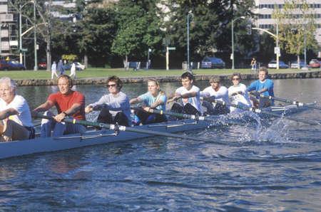 sculling: Rowing team, Lake Merritt, Oakland, CA Editorial