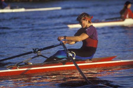 sculling: Close-up of male rower, Charles Regatta, Cambridge, Massachusetts