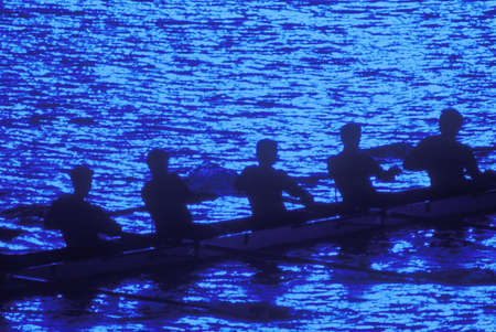 sculling: Rowers by moonlight, Charles River, Cambridge, Massachusetts Editorial