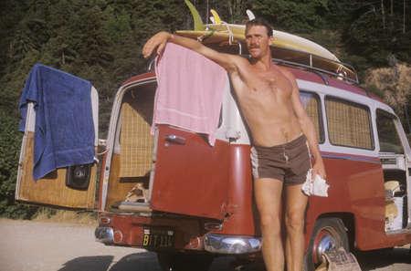 vw: Surfer by VW van, Northern CA