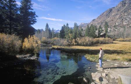 muir: Scenic of fisherman in John Muir Wilderness area, Sierra Nevada Mountains, CA Editorial