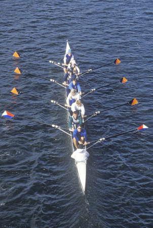 男性の漕ぎ手、チャールズ レガッタ、ケンブリッジ、マサチューセッツ州のチーム 報道画像