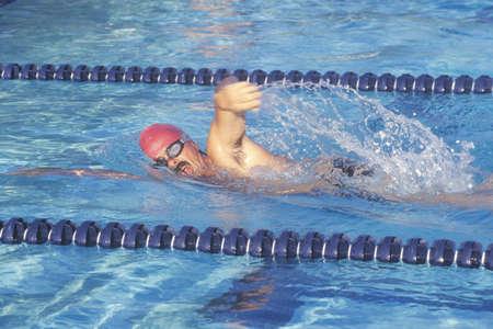 senior olympics: Senior Swimming Practice, Freestyle swimmer, Ojai, CA Editorial