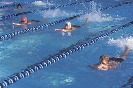 senior olympics: Senior swimming practice with kickboards, Ojai, CA