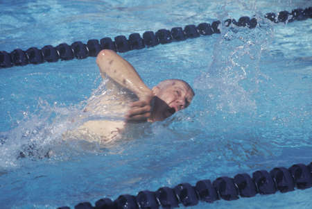 senior olympics: Swimmer in Senior Olympic Swimming Competition, Ojai, CA Editorial