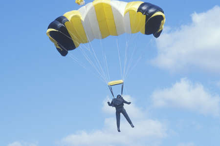 Parachutist in sky, West Point, NY Editorial