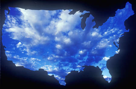 special effects: Special effects: Outline of the United States mainland with sky Editorial