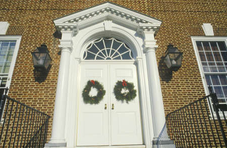 Christmas Wreaths Hung on Door of House, Dover, Delaware