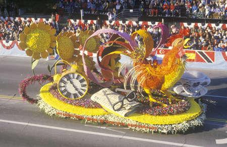 rose bowl parade: Rooster Float in Rose Bowl Parade, Pasadena, California Editorial