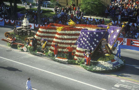 rose bowl parade: American Flag Float in Rose Bowl Parade, Pasadena, California
