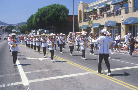 marchers: Marching Band in July 4th Parade, Pacific Palisades, California