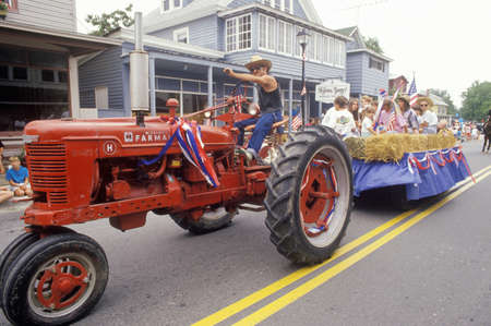 Tractor Pulling Float in July 4th Parade, Rock Hall, Maryland Editorial